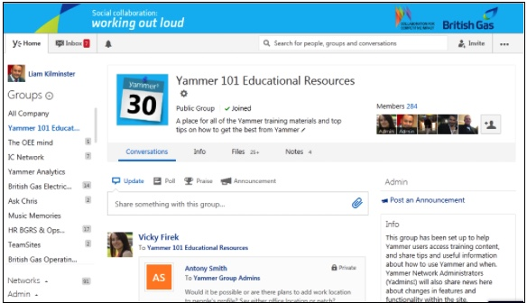 British Gas, Yammer, and Adoption Approach